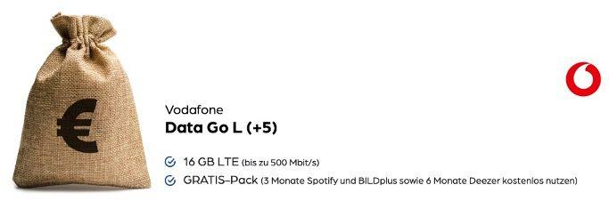 Vodafone DataGo L mit 16GB LTE für 29,99€ mtl. + 390€ Auszahlung   effektiv 13,74€ mtl.