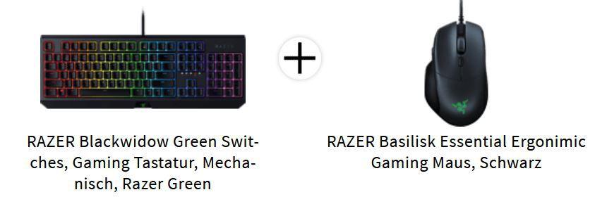 Abgelaufen! Razer BlackWidow Elite Green Switch + RAZER Basilisk Essential Gaming Maus für 111€ (statt 179€)