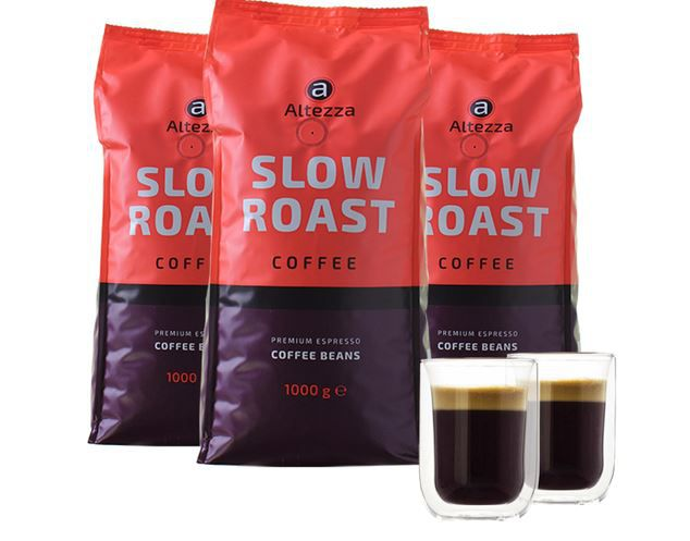 Altezza Slow Roast Kaffeebohnen 3kg + 2 doppelwandige Kaffeegläser für 39,94€