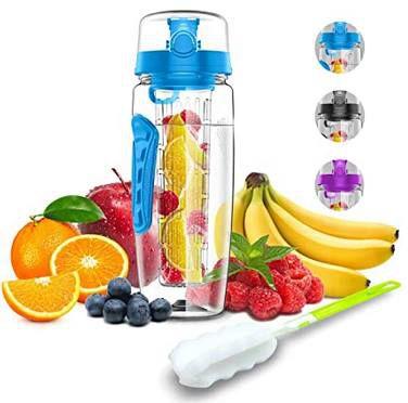 Abgelaufen! 1 Liter Trinkflasche mit Fruchteinsatz in 3 Farben für je 4,80€   Prime
