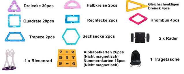 CONDIS bunte & magnetische Bausteine (120 tlig) für 25,99€ (statt 40€)