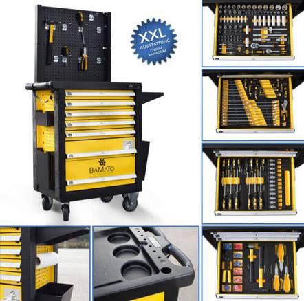 BAMATO WORK 550  XXL Werkstattwagen inkl. Werkzeug für 386,10€ (statt 475€)