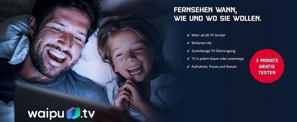 Drei Monate waipu.tv Comfort für Mobilcom Debitel Kunden kostenlos (statt ca. 15€)