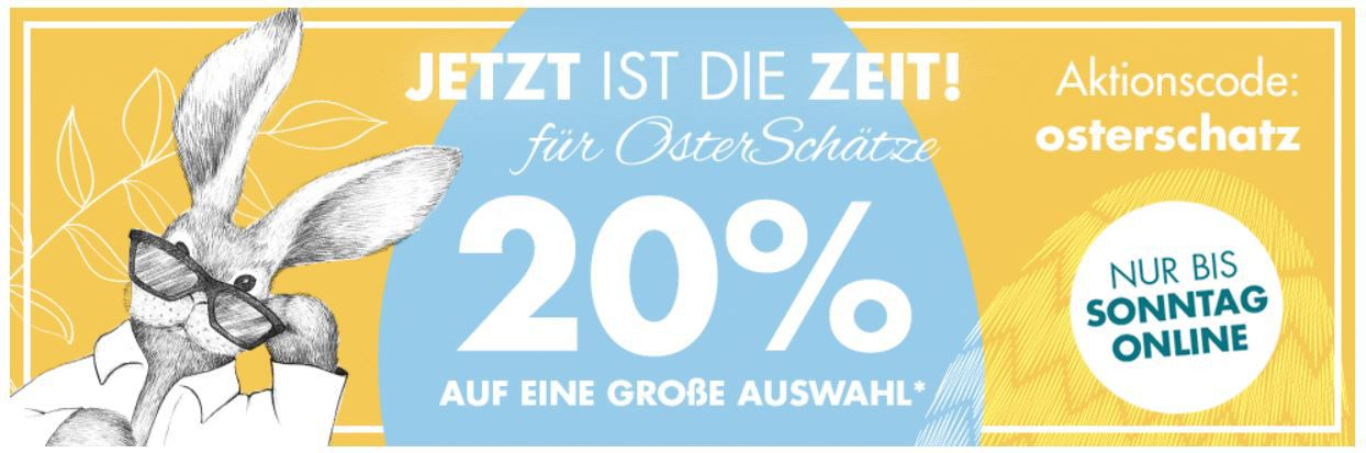 Galeria Oster Schätze: Heute viele Artikel mit 20% Extra Rabatt auf z.B. Schmuck, Uhren und Schuhe