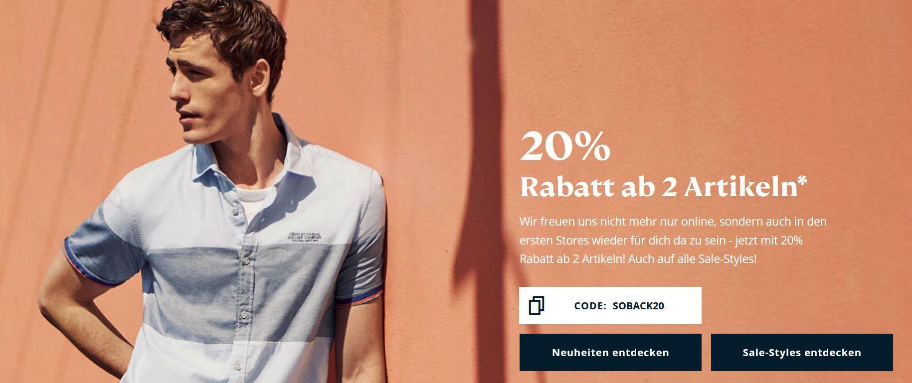 s.Oliver re opening Sale mit 20% extra Rabatt auf ALLES ab 2 Artikeln