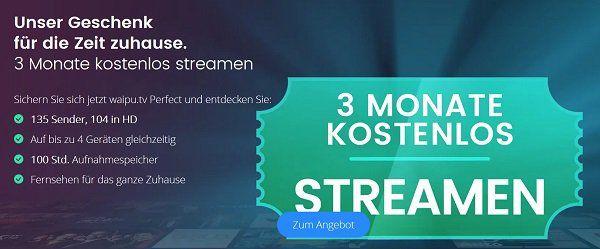 Bis Mitternacht: 3 Monate Waipu Perfect TV Streaming inkl. 100 Stunden Aufnahmespeicher gratis (statt 30€)