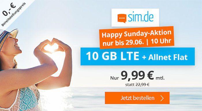 🔥 Happy Sunday o2 AllNet & SMS Flat mit 10GB LTE für 9,99€mtl. (statt 23€) + ohne Laufzeit möglich