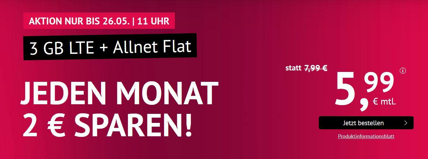 O2 AllNet & SMS Flat + 3GB LTE (max 50MBit/s) für 5,99€ mtl.  mtl. Kündbar