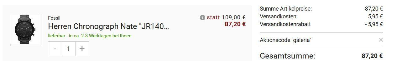 Fossil Nate JR1401 Herren Chronograph 50mm Mineralglas für 87,20€ (statt 118€)