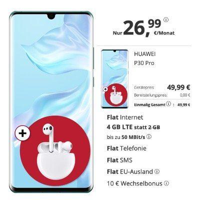 Huawei P30 Pro + Freebuds 3 für 49,99€ mit O2 Allnet Flatrate mit 4GB LTE für 26,99€ mtl.