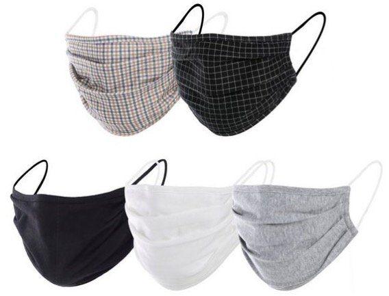 Abgelaufen! 5er Pack Mund Nasen Masken aus Baumwolle für 11,95€   auch für Damen oder Kinder!