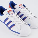 adidas Superstar Trainers Sneaker in White Blue Orange für 50€ (statt 90€) – nur 37-42