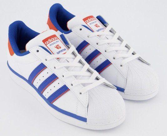 Vorbei! adidas Superstar Trainers Sneaker in White Blue Orange für 50€ (statt 90€)   nur 37 42