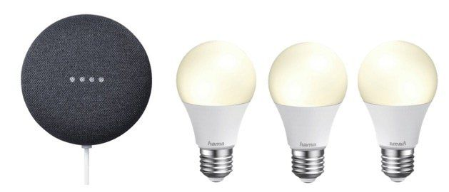 Google Nest Mini inkl. 3x Hama WiFi LED Birne für 59€ (statt 86€)