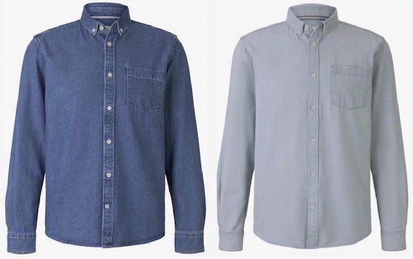 Tom Tailor Jeanshemd mit Brusttasche in Blau oder Hellgrau für je 17,91€(statt 31€)