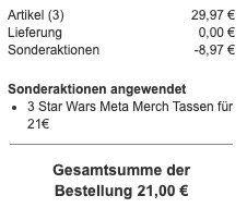 3er Pack Star Wars Tassen mit Arm Henkel für 21€ (statt 30€)