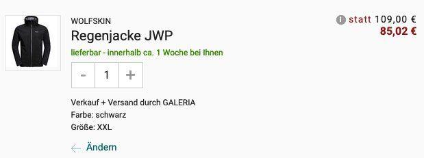 JACK WOLFSKIN Herren Regenjacke JWP in Schwarz für 85,02€ (statt 123€)
