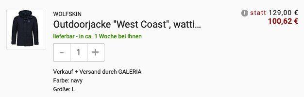JACK WOLFSKIN Herren Outdoorjacke West Coast in Blau (nur in L) für 100,62€ (statt 143€)
