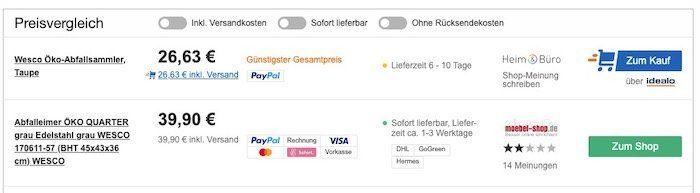 Vorbei! Wesco Öko Sammler 170 Tretabfalleimer für 26,63€ (statt 40€)