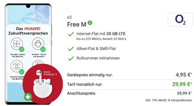 Huawei P30 Pro + Freebuds 3 für 4,95€ + o2 Allnet Flat mit 20GB LTE für 29,99€ mtl.