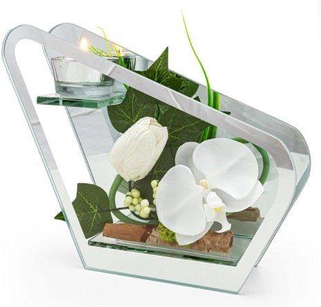 Ausverkauft! Glas Windlicht mit Orchideen Deko für 16,98€