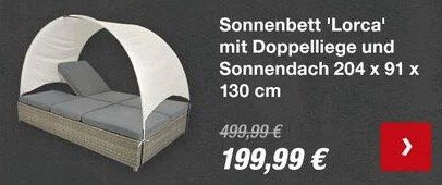 Ausverkauft! Sonnenbett Lorca mit Doppelliege und Sonnendach für 219,94€ (statt 520€)