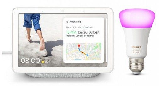 Google Nest Hub + Philips Hue White & Color Ambiance E27 Bluetooth Leuchte ab 104,95€ (statt 157€)