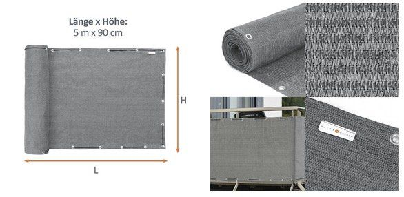 Balkon Sichtschutz 500x90cm aus HDPE Material in verschiedenen Farben für 19,90€ (statt 25€)