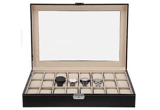 Uhren Schaukoffer aus Kunstleder für 24 Uhren für 15,59€ (statt 26€)   Prime