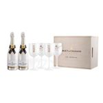 Ausverkauft! MOËT & CHANDON Ice Iperial Geschenkset mit 2x 0,75 Liter + 4 Gläser + Kiste für 139,50€ (statt 205€)