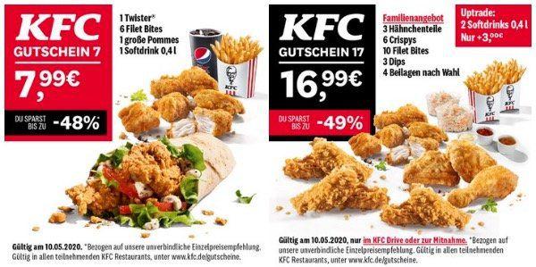Letzter Tag: KFC 7 Tage und 14 Angebote   heute: großes Familienmenü für 16,99€ (normal 33,99€)