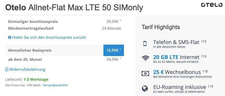 Vodafone Flat von otelo mit 20GB LTE für eff. 16,99€ mtl. dank 432€ Auszahlung