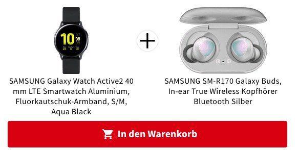 SAMSUNG Galaxy Watch Active2   40 mm LTE Smartwatch + Galaxy Buds ab 319€ (statt 428€)