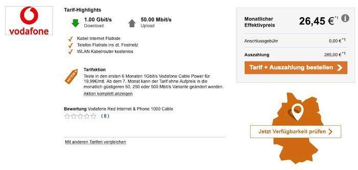 Vodafone Red Internet & Phone 1000 Cable effektiv nur 26,56€ (statt 50€)