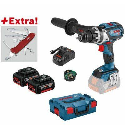 Akku Bohrschrauber Bosch GSR 18 V 85 C Professional inkl. 2 x 5,0 Ah + Klappmesser + L Boxx für 339€ (statt 400€)