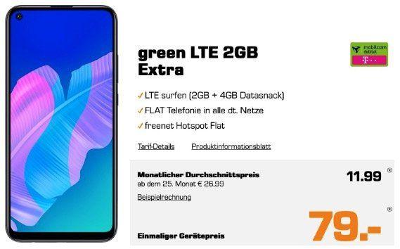 Knaller! Huawei P40 Lite E für 79€ + Telekom Allnet Flatrate mit 6GB LTE für 11,99€ mtl.