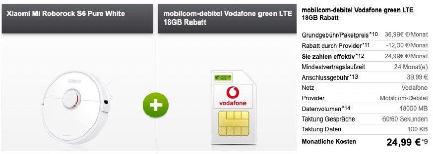 Xiaomi Mi Roborock S6 für 49€ + Vodafone Flat mit 18GB LTE für 24,99€ mtl.