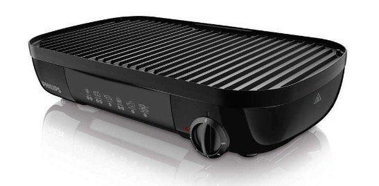 PHILIPS HD6321/20 Tischgrill 2000W mit gerippter Grillplatte für 26,99€ (statt 51€)