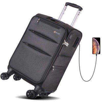 REYLEO 20 Zoll Handgepäck Koffer LUG20B mit 8 Rädern, TSA Schloss und USB Ladeanschluss für 24,99€ (statt 45€)