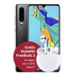 Huawei P30 128GB inkl. FreeBuds 3 für 9€ mit Congstar Telekom-Netz Allnet-Flat mit 8GB LTE für 23€ mtl.