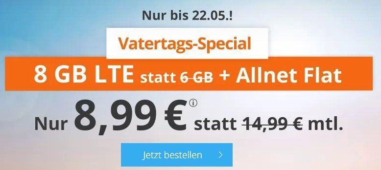 Nur noch heute! 🔥 o2 Flat von Sim.de mit 8GB LTE für 8,99€mtl. + monatlich kündbar