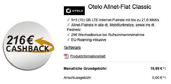 Vodafone Flat von otelo mit 10GB LTE für effektiv 10,99€ mtl. dank 216€ Cashback