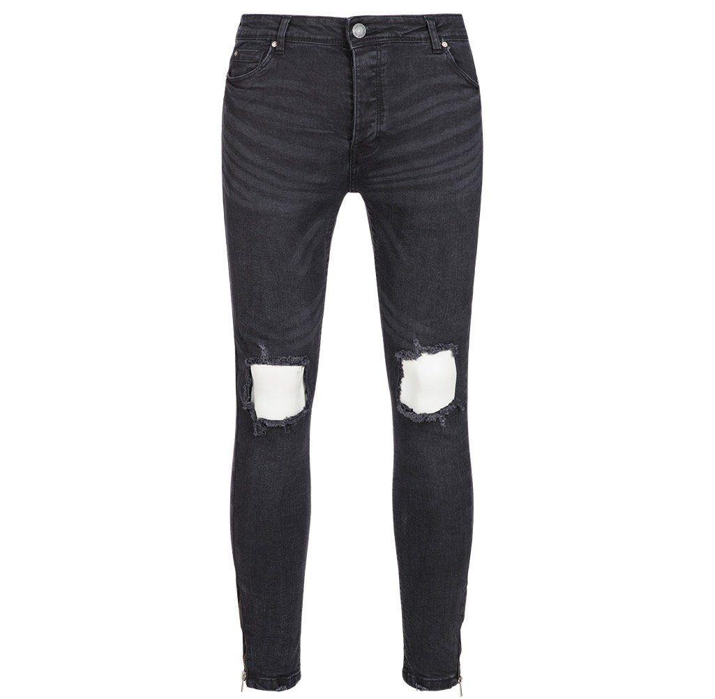 Brave Soul Parker Skinny Fit Herren Denim Cut Out Jeans für 17€ (statt 26€)