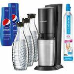 Sodastream Crystal 2.0 Wassersprudler + 3 Glaskaraffen + Zylinder + 2x Pepsi Sirup für 104,35€ (statt 115€)