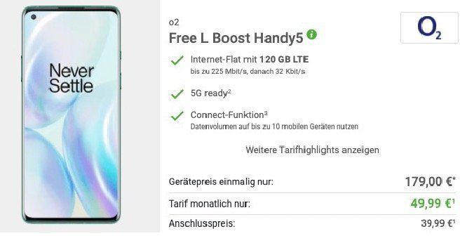 OnePlus 8 Pro mit 256GB für 179€ + o2 Flat mit satten 120GB LTE für 49,99€mtl.