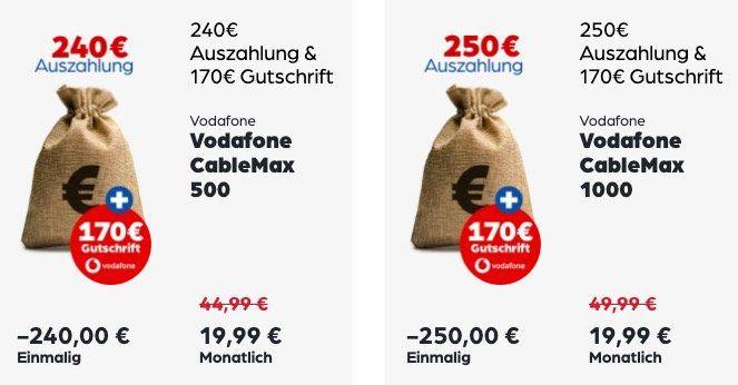 Vodafone Cable Angebote mit Prämien und Auszahlung   z.B. Cable 250 für 34,99€ mtl. + 359€ Auszahlung