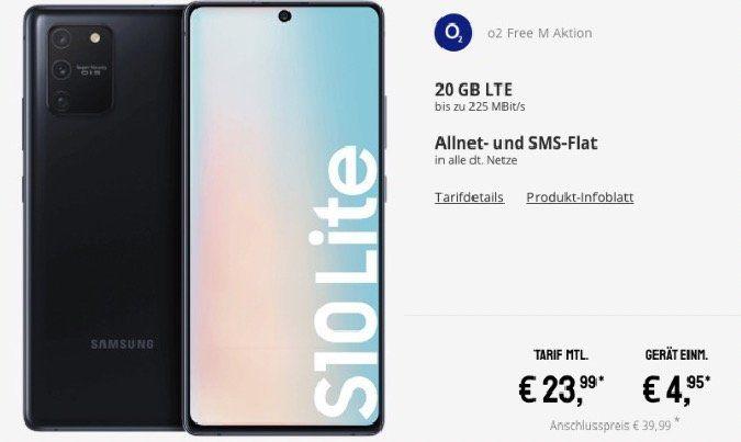 Samsung Galaxy S10 Lite für 4,95€ + o2 Flat mit 20GB LTE für 23,99€ mtl.