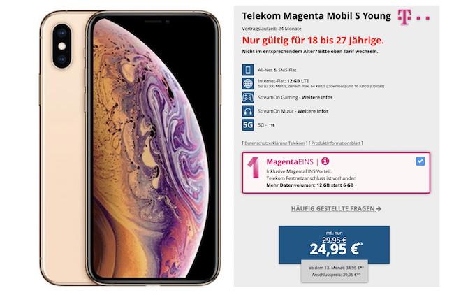 Vorbei! Young + Magenta: Apple iPhone XS 512GB in Gold nur 4,95€ + Telekom Flat mit 12GB LTE für 29,95€mtl.