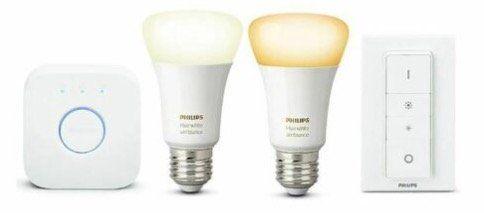 Philips Hue White Ambiance Starter Kit mit 2x E27 Lampen + Bridge + Dimmschalter für 49,90€ (statt ~80€)