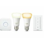 Philips Hue White Ambiance Starter-Kit mit 2x E27 Lampen + Bridge + Dimmschalter ab 53,91€